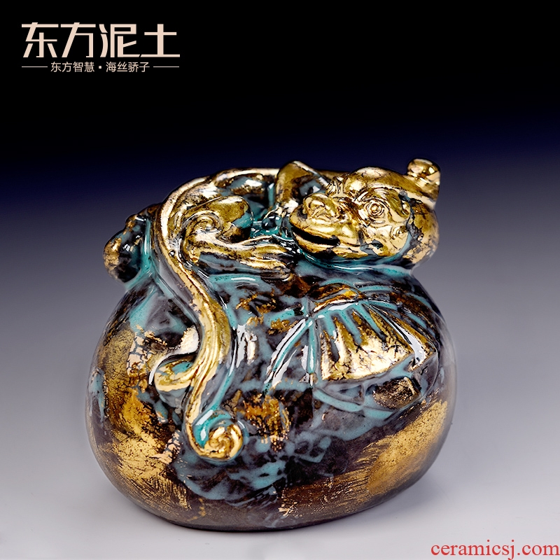 Oriental clay ceramic the mythical wild animal furnishing articles bronze color series checking crafts office/purse the mythical wild animal