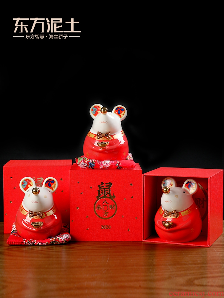 Oriental soil creative ceramic mice furnishing articles rat only into the piggy bank money box/eight party to gain