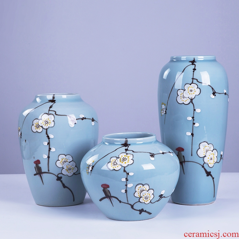 Jingdezhen ceramic hand - made vases, three - piece suit of new Chinese style is I and contracted sitting room TV ark, home decoration furnishing articles