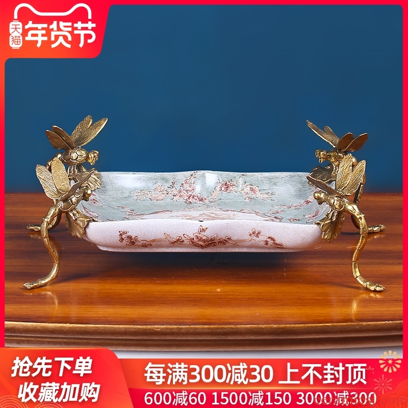 Europe type restoring ancient ways the receive a plate of high - grade ceramic dry fruit tray key-2 luxury household American sitting room tea table plate decoration furnishing articles
