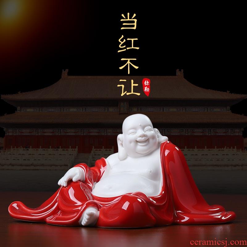 Oriental red clay ceramic China smiling Buddha maitreya furnishing articles dehua white porcelain its art desktop decoration