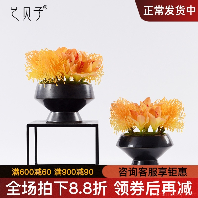 The new Chinese style floor of sitting room partition Angle furnishing articles what creative soft outfit decoration ceramic simulation flower art household act The role ofing is tasted