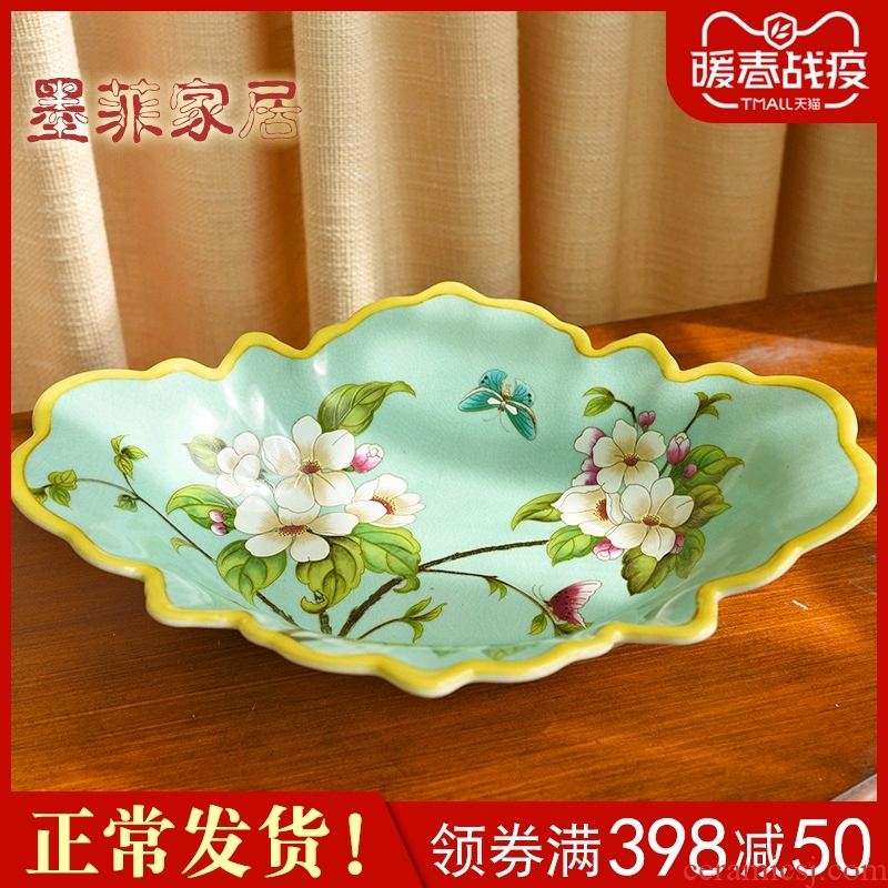 American classic ceramic dry fruit bowl of confectionery dish of new Chinese style sitting room tea table furnishing articles restaurant fruit bowl