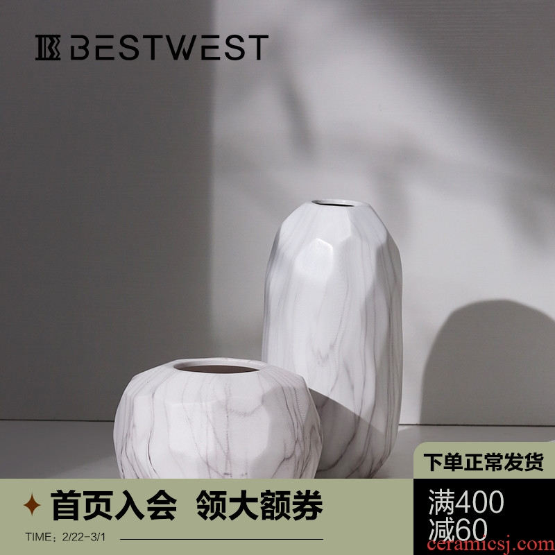 New Chinese style ceramic vase furnishing articles creative living room table dry flower vase household soft adornment ornament light of key-2 luxury