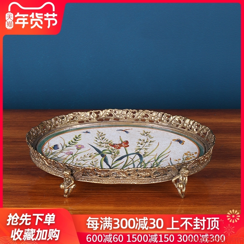European rural ceramics with copper dry fruit tray was domestic high - end home decoration restoring ancient ways the sitting room tea table compote furnishing articles