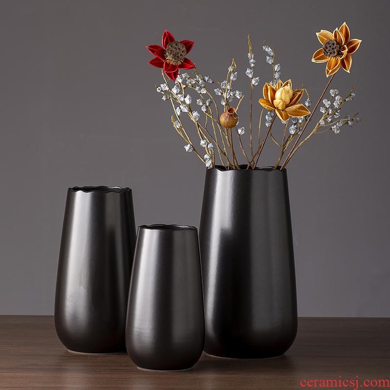 Chinese black ceramic vase zen contracted sitting room TV ark of desk of modern art creative furnishing articles do the vase