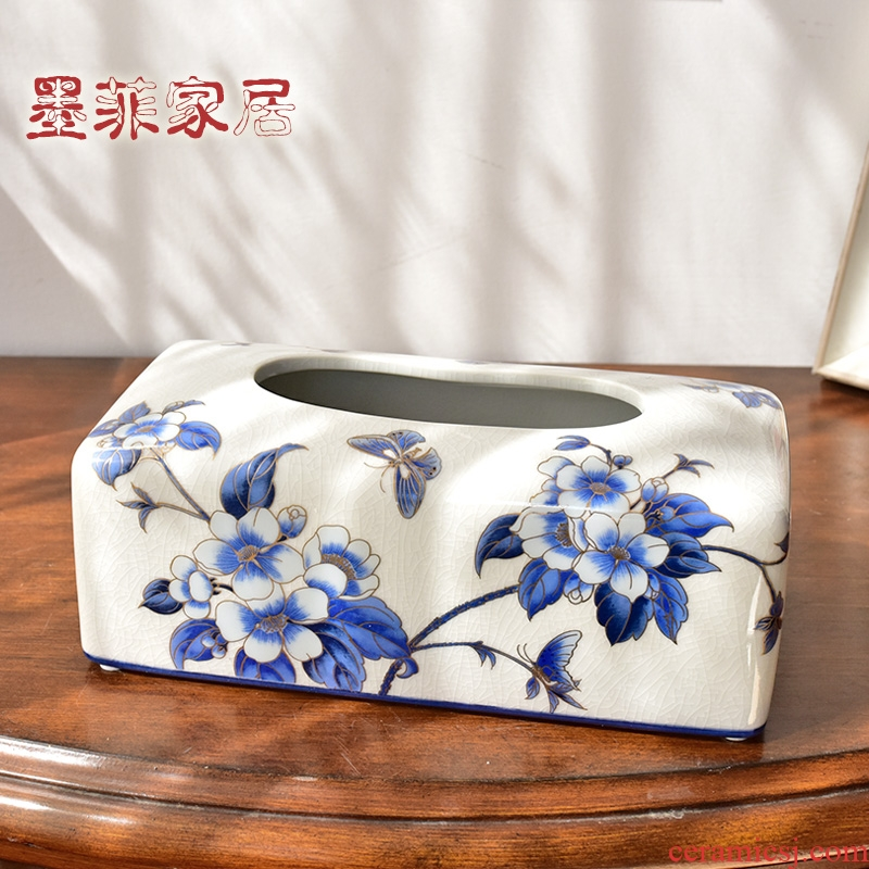 New Chinese style restoring ancient ways ceramic tissue box smoke box American home restaurant table sitting room tea table with decorative furnishing articles