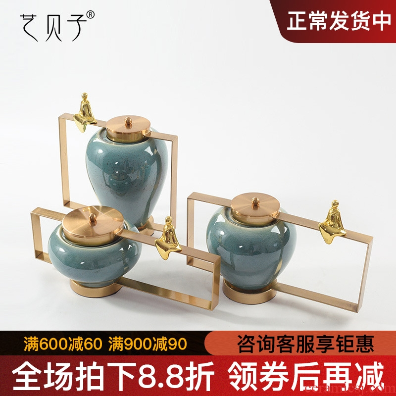 New Chinese style show ceramic vase flower flower implement furnishing articles villa living room New classical household craft ornaments