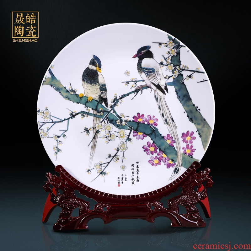 Large decorative hanging dish of jingdezhen ceramics decoration plate 35 cm the awaken of spring and flowers and birds design decorative furnishing articles