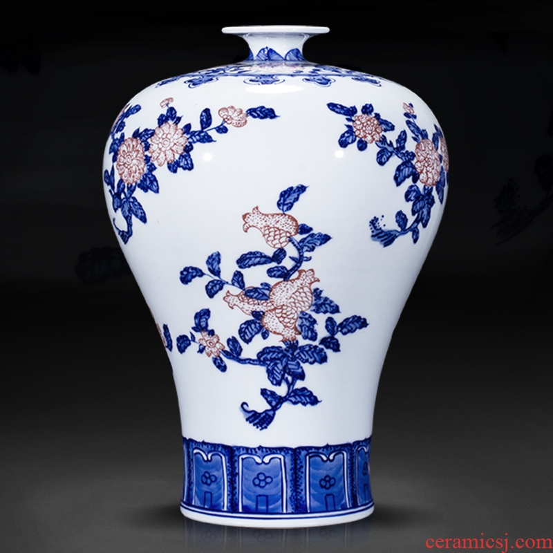 Jingdezhen ceramic antique hand - made flowers and lines of blue and white porcelain vase furnishing articles flower arranging new Chinese style living room decoration gifts