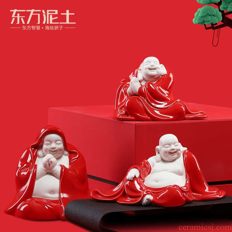 East China red soil smiling Buddha furnishing articles of new Chinese style household ceramic wine TV ark, sitting room adornment