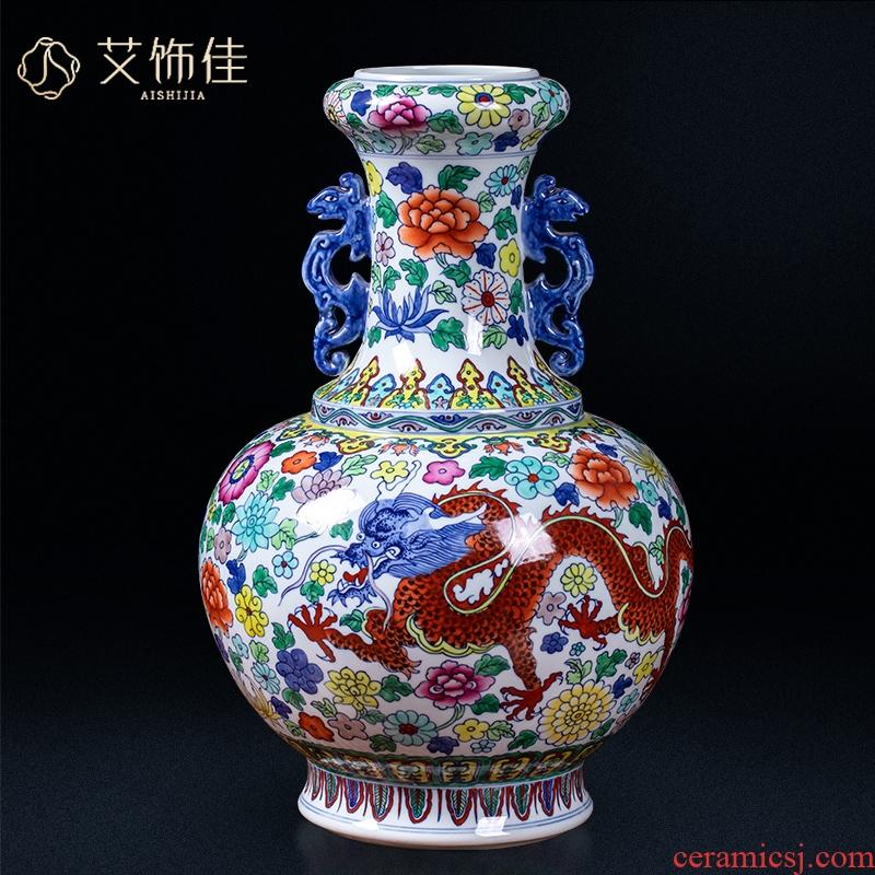 Jingdezhen ceramics archaize ears dragon vase household enamel flower arranging the sitting room porch ark adornment
