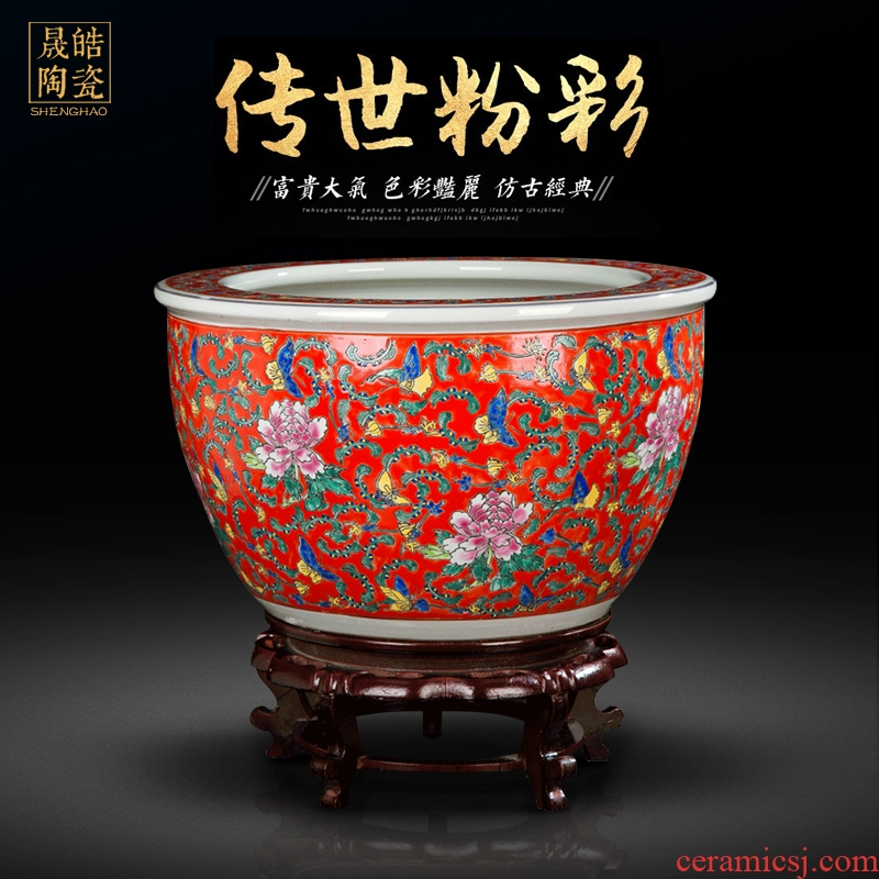 Jingdezhen antique hand - made ceramic powder enamel cylinder tank koi cylinder Chinese style living room a study place feng shui to plant trees