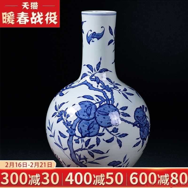 Jingdezhen ceramic antique flat peach blue and white porcelain vases, qianlong sitting room porch study collection of Chinese style household furnishing articles