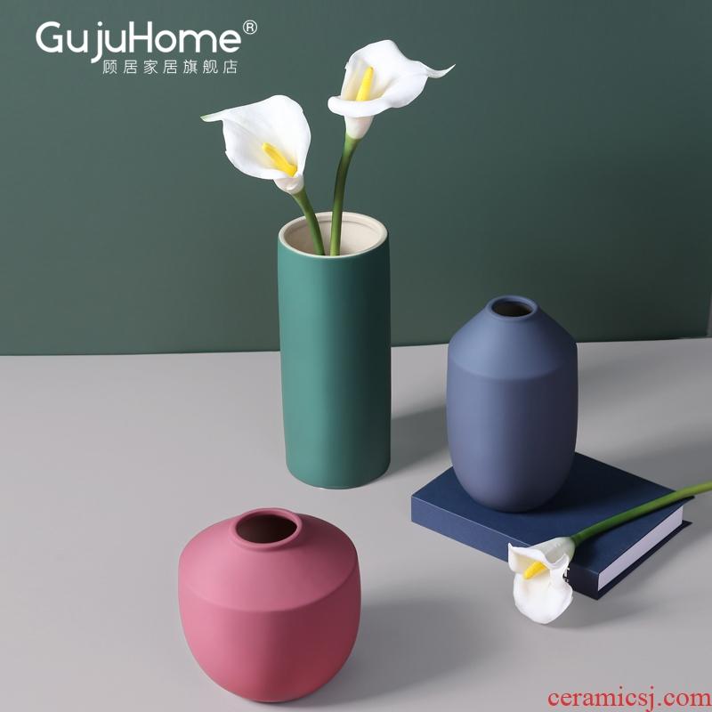 Ceramic vases, flower arranging furnishing articles Nordic living room table sample room morandi color household soft adornment ornament