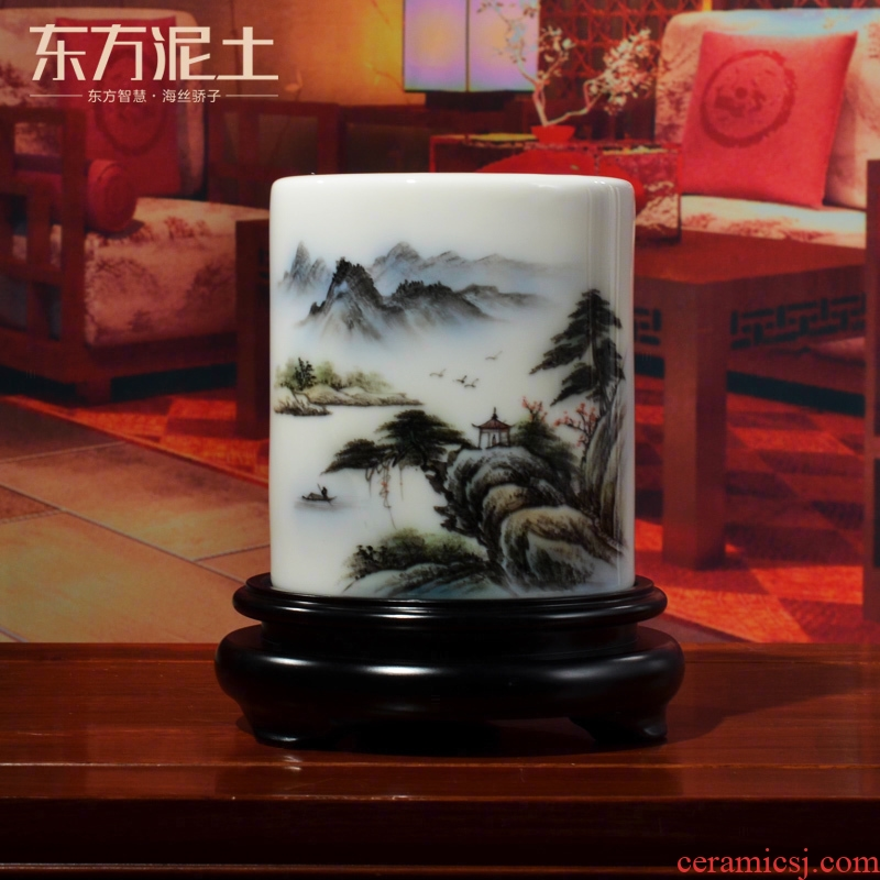 Oriental hand - made ceramic brush pot soil practical office furnishing articles study the elder the teacher commemorative gifts
