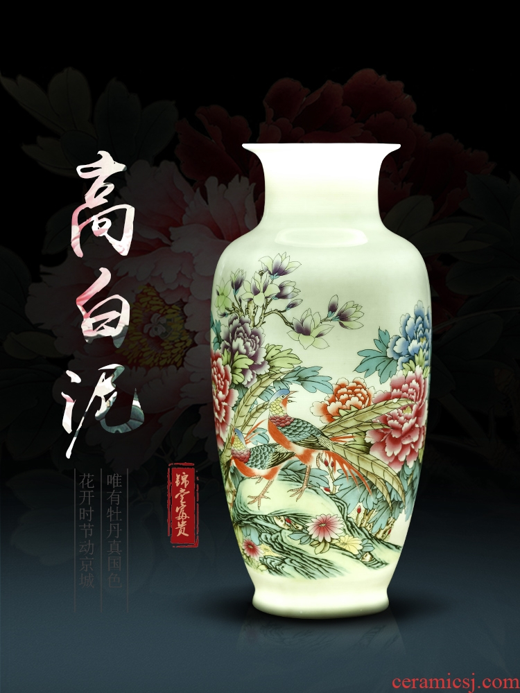 Vase of jingdezhen ceramic Vase high white mud thin foetus pastel blue and white porcelain Vase Vase rich ancient frame is placed in the living room