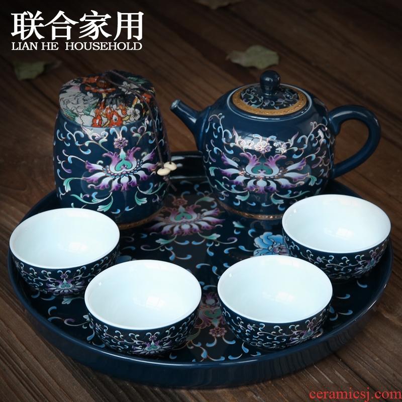 Kung fu tea sets portable travel tea set office of jingdezhen blue and white porcelain teapot built sample tea cup