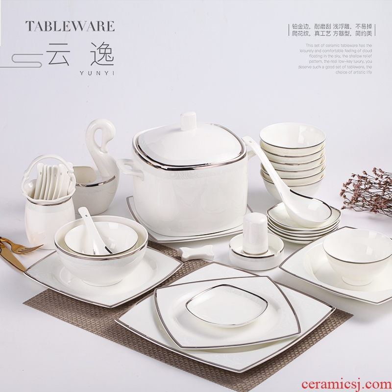 Dishes suit household European - style jingdezhen ceramic tableware chopsticks contracted eating ceramic Dishes suit combinations