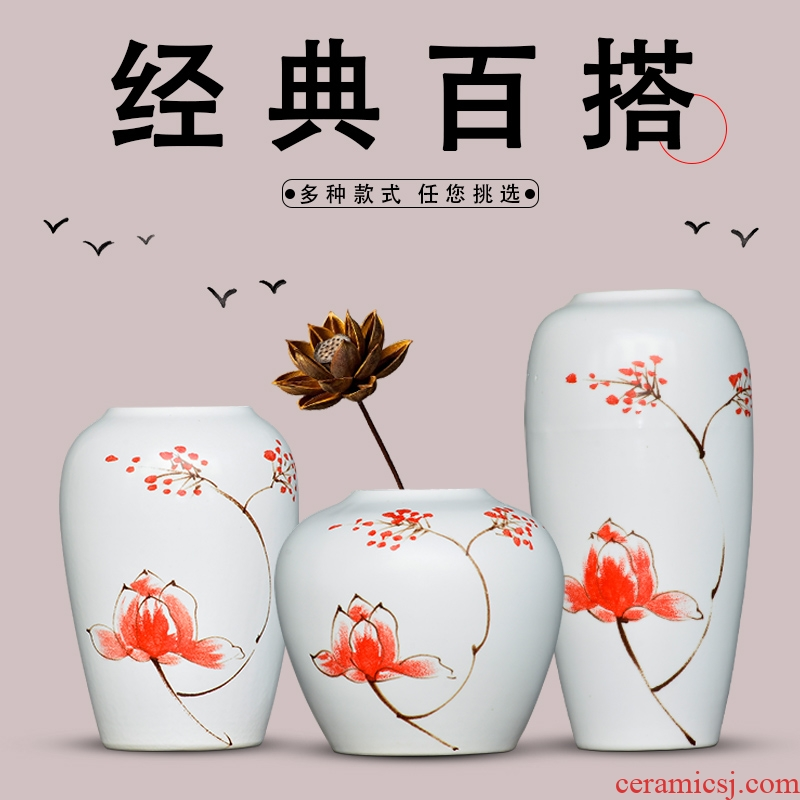 Jingdezhen ceramic flower arranging dry flower vase of new Chinese style household to decorate the living room TV ark, wine handicraft furnishing articles
