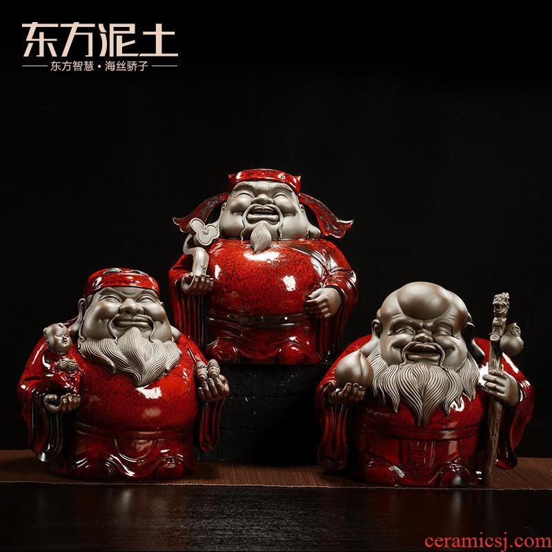 Oriental clay ceramic fu lu shou samsung furnishing articles creative home sitting room adornment elder birthday a birthday present