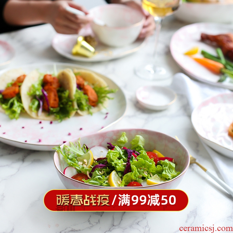 Sichuan island house creative lovely ceramic tableware household food dish bowl plate western - style food dish bowl of fruit salad dishes