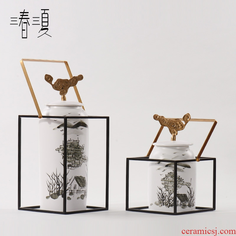 Modern new Chinese zen ceramic office table decoration in the sitting room storage tank vessels combination soft adornment is placed
