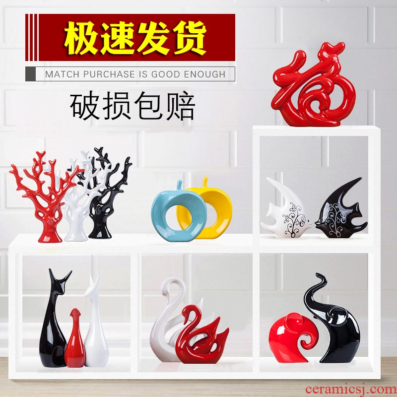 Creative I and contracted home furnishing articles sitting room ceramic wine TV ark adornment housewarming gift rich tree