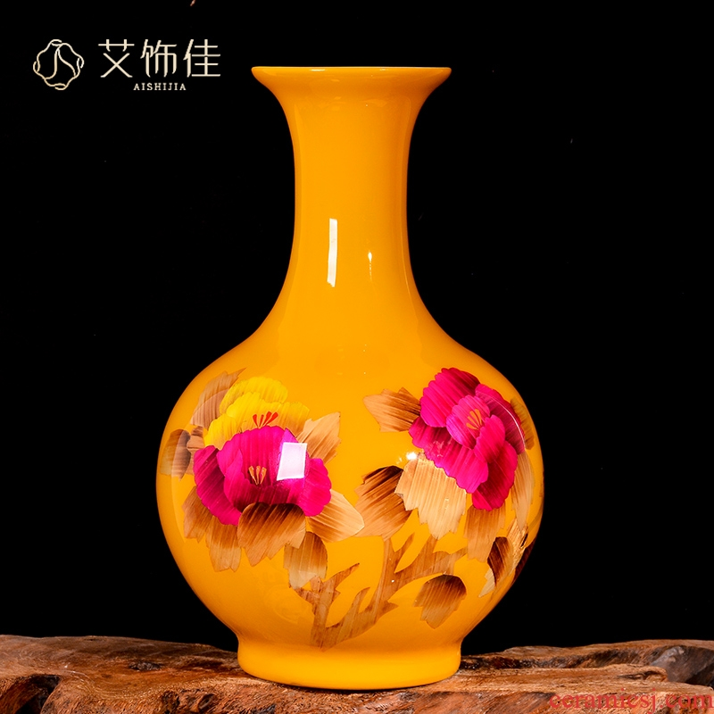 Jingdezhen ceramics yellow straw dry flower arranging flowers sitting room place, a new Chinese style porch ark, decorative arts and crafts