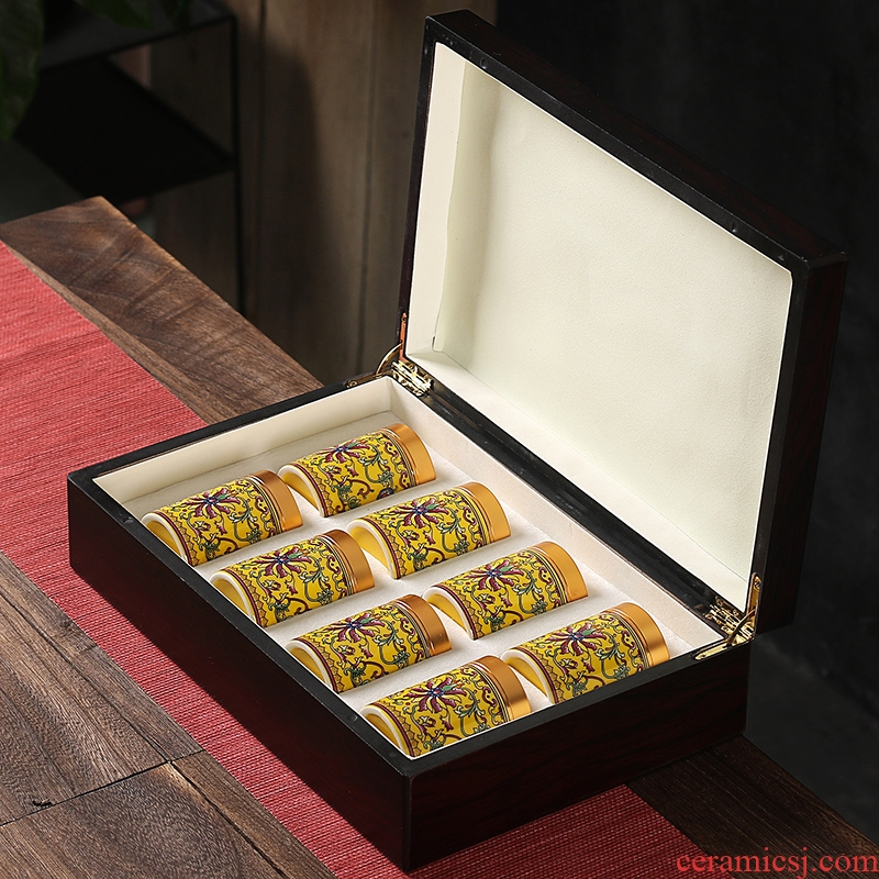 Colored enamel caddy fixings ceramic seal tank with portable tank tea gift box packaging