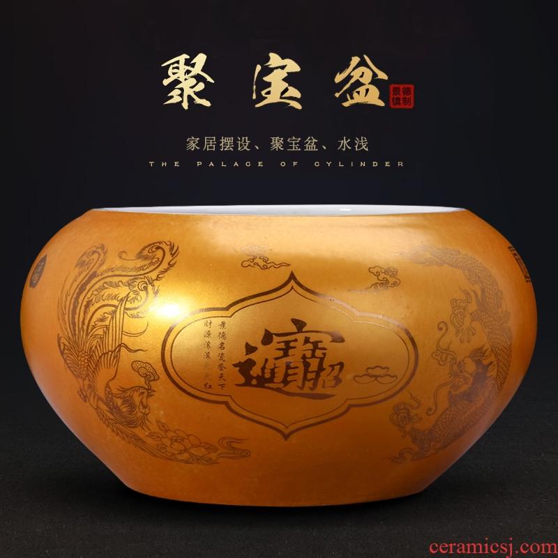 Cornucopia of jingdezhen ceramics Cornucopia aquarium lucky decoration and shallow feng shui furnishing articles furnishing articles tea to wash to the writing brush washer water