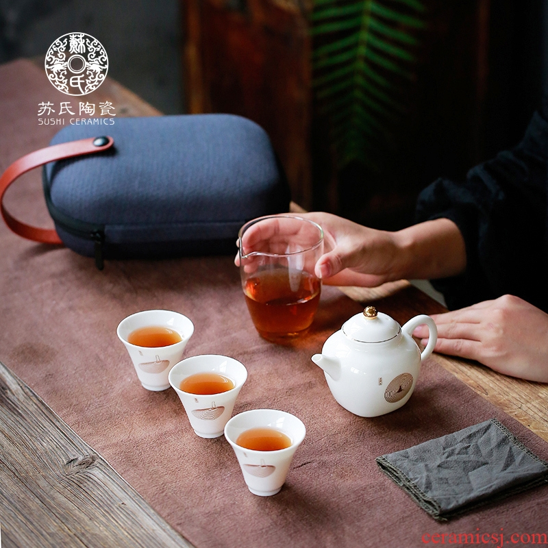 The Sioux ceramic portable travel tea set is suing contracted kung fu tea set a pot of three cups of crack cup