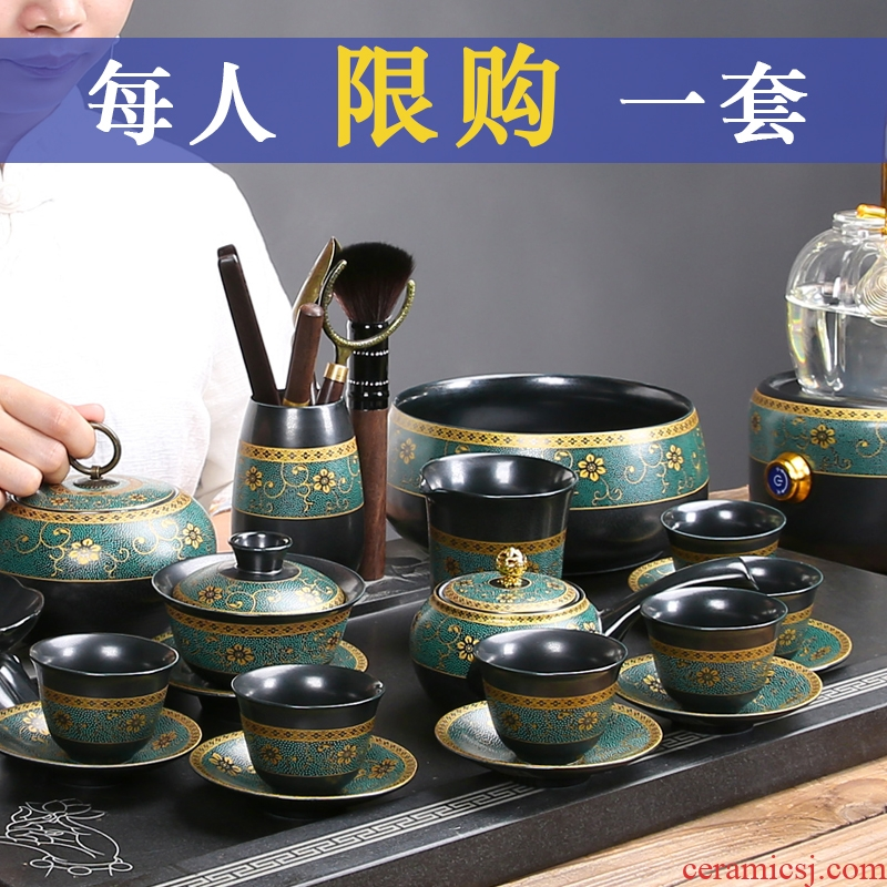 Vintage tea set ceramic checking kung fu tea set a complete set of domestic tea cups stone mill automatic teapot