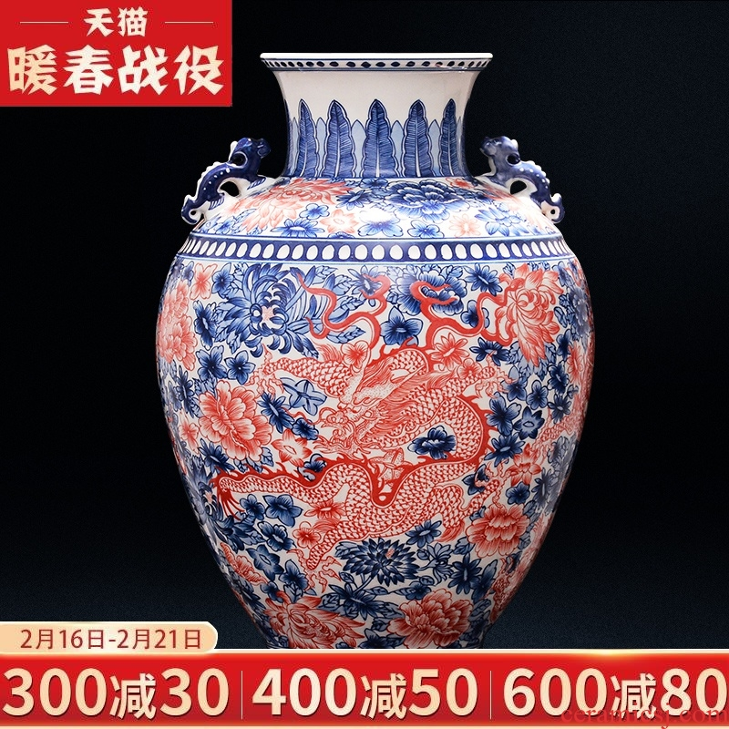 Jingdezhen ceramics vase manual youligong antique blue and white porcelain double classical Chinese style living room TV cabinet furnishing articles