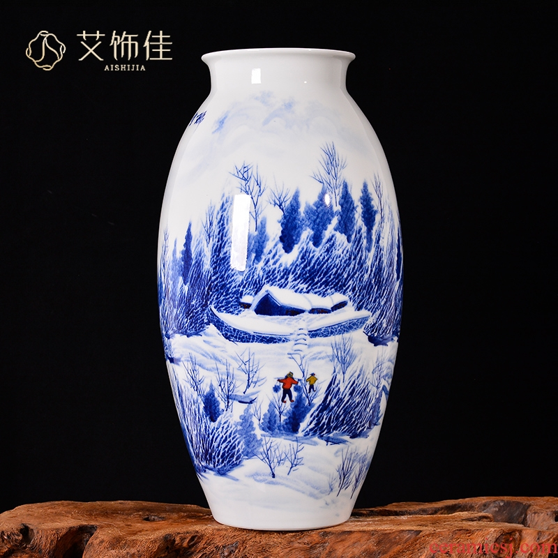 Jingdezhen ceramics Chinese hand - made snow vase household living room TV cabinet porch decoration handicraft furnishing articles