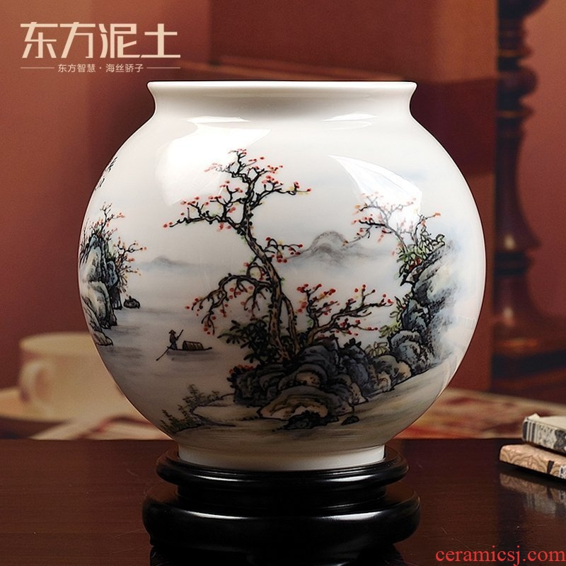The east mud colorful landscape ceramic hand - made vases furnishing articles sitting room of Chinese style household adornment version into gifts