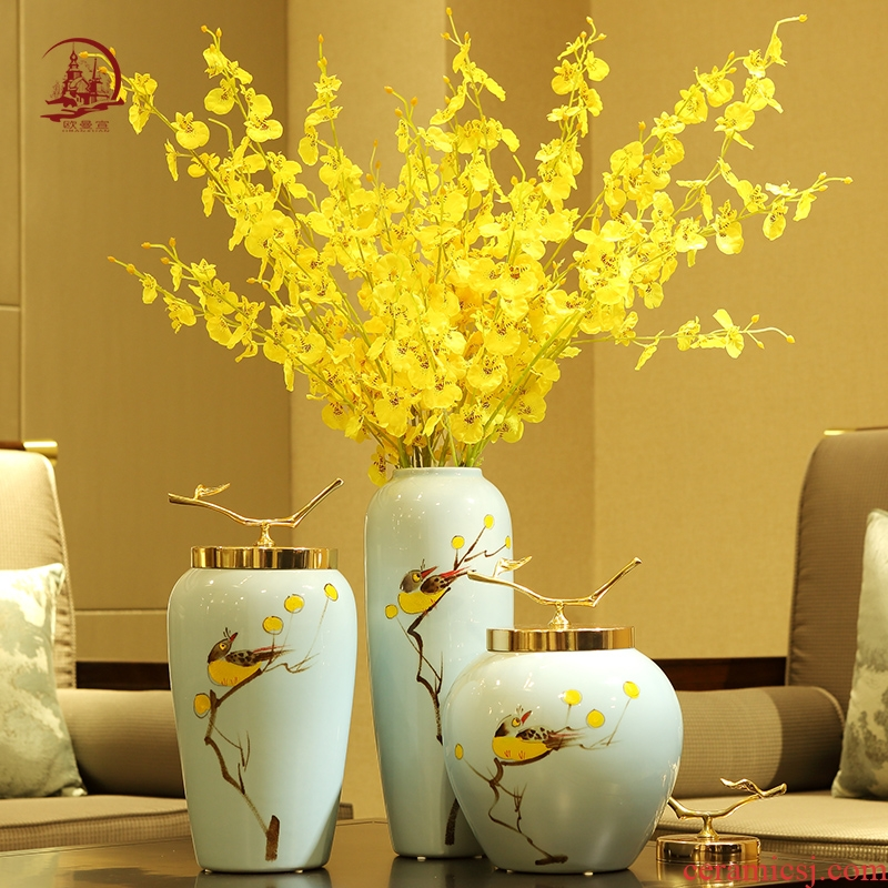 Light the key-2 luxury of new Chinese style of jingdezhen ceramic vase flower arranging dried flowers, TV ark, place of the sitting room porch home decoration