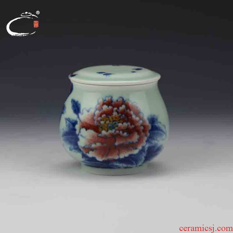 And auspicious jing DE treasure glair peony caddy fixings master of jingdezhen hand - made ceramic POTS awake storage tank