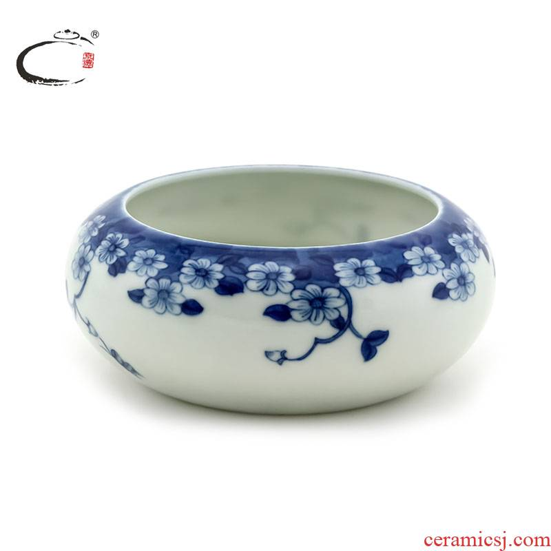 And auspicious jing DE writing brush washer from jingdezhen blue And white porcelain antique collection water, after the hand - made ceramic tea to wash to the four treasures of the study