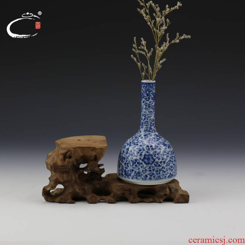 And auspicious vase jing DE treasure bell statute of jingdezhen blue And white porcelain bound branches master hand tea accessories