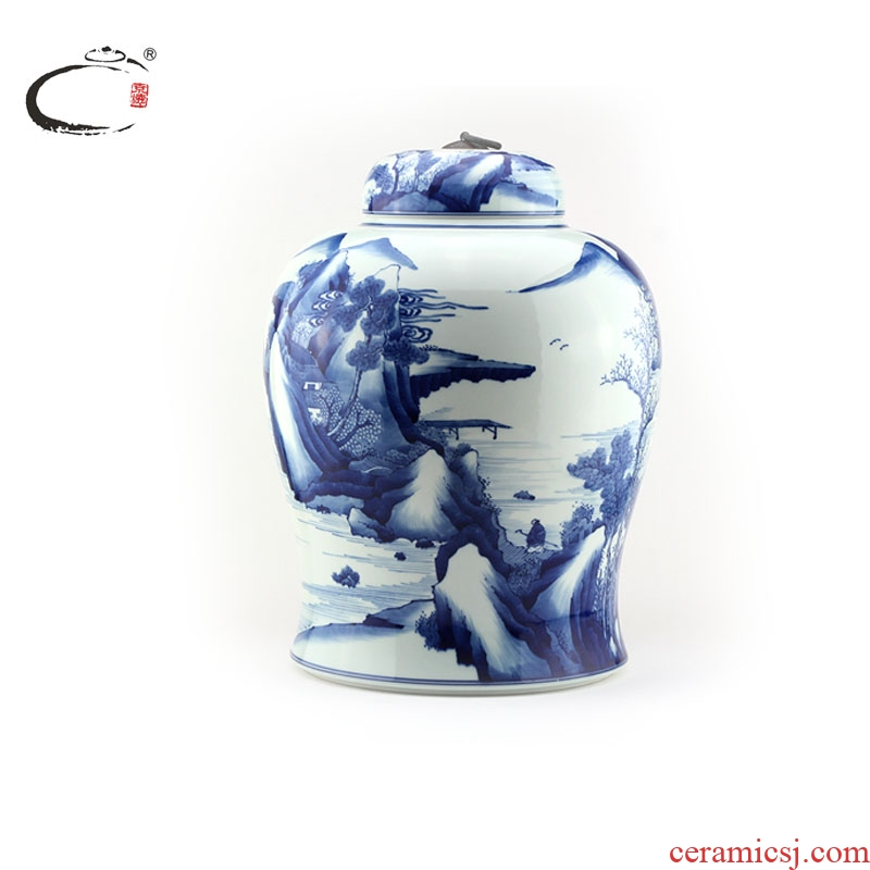 Blue and white kangxi and auspicious scenery caddy fixings jingdezhen ceramic large hand - made wake POTS sealed as cans of storage tank