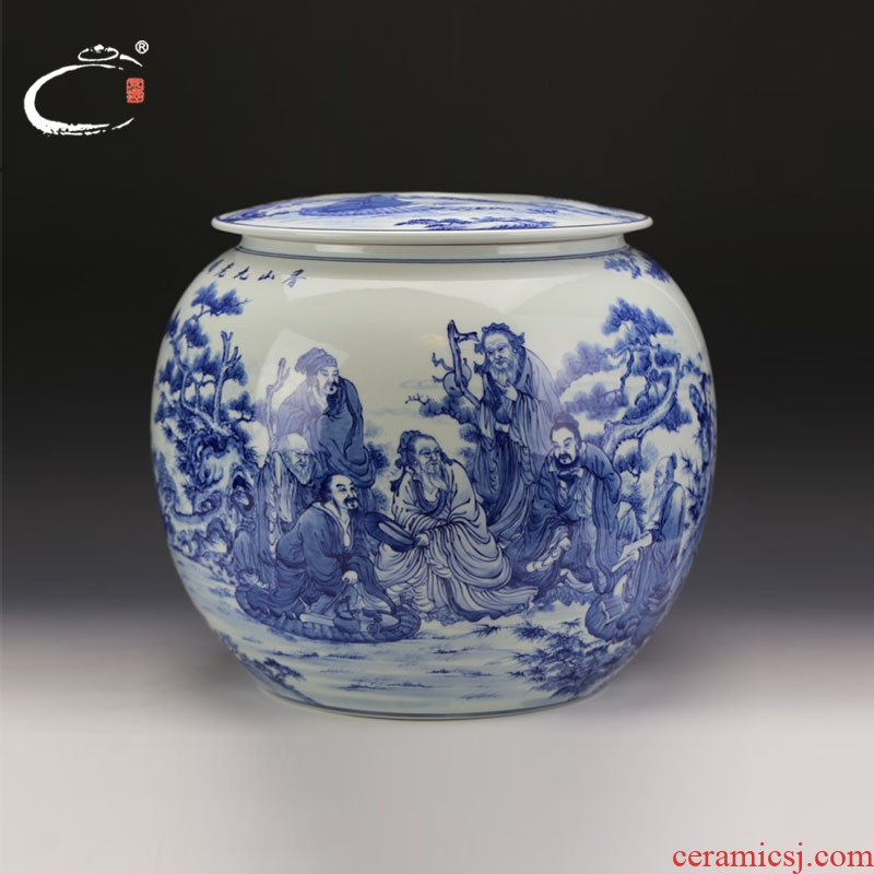 And auspicious old hand - made xiangshan nine old graph caddy fixings of blue And white porcelain of jingdezhen ceramic POTS storage tins
