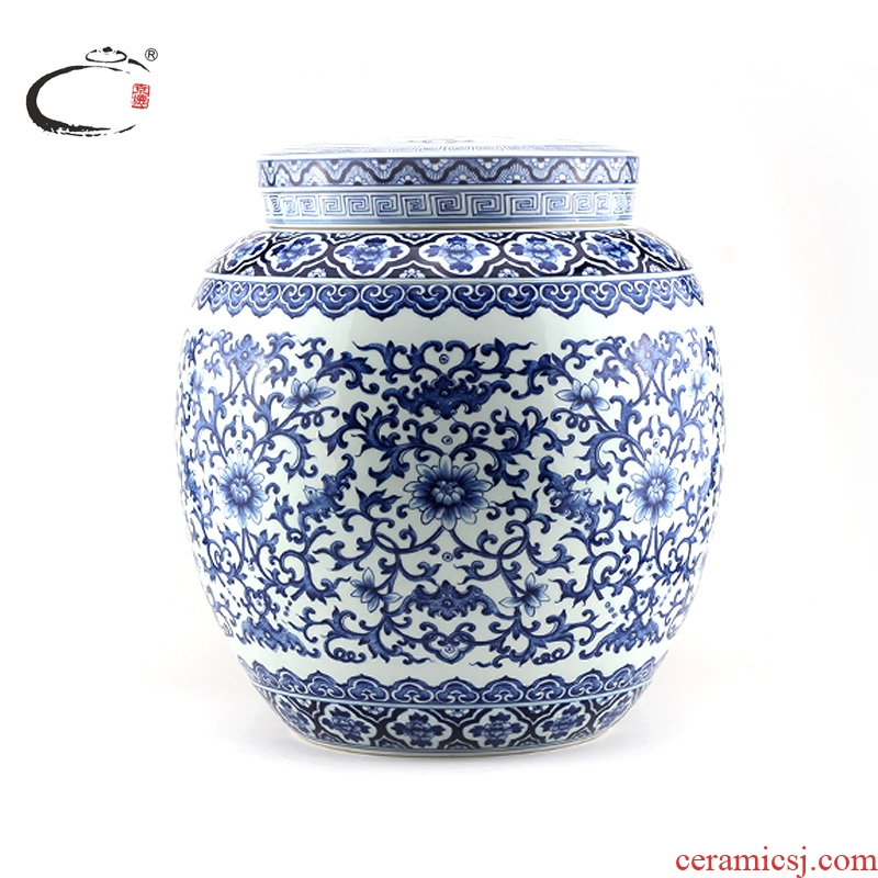 And auspicious jingdezhen blue And white large caddy fixings hand - made ceramic tea packaging gift boxes storage tank furnishing articles