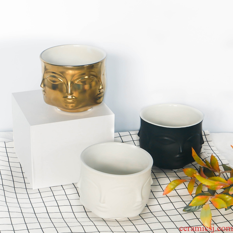 Geometric space MUSE Ann Vatican floret bottle Nordic creative home decorations, face ceramics flowerpots furnishing articles