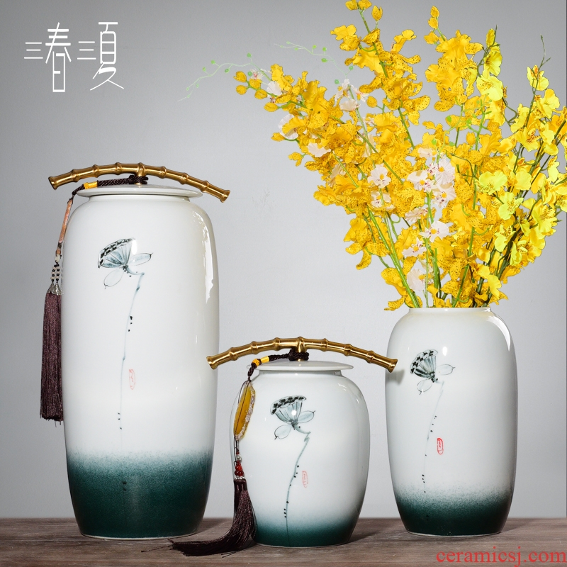 New Chinese style three - piece ceramic vase jar furniture furnishing articles, the sitting room porch TV ark adornment household decoration