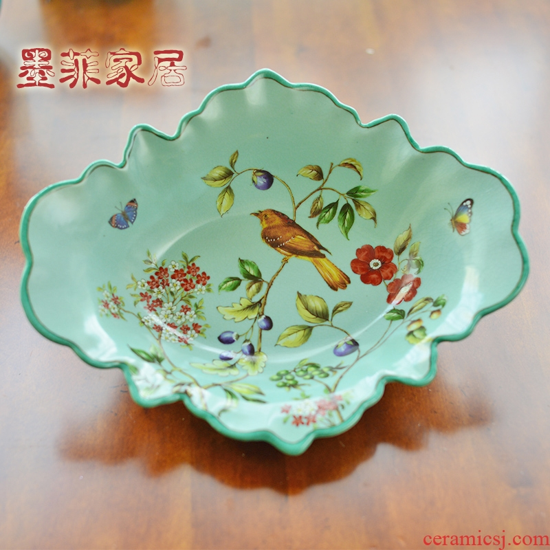 New Chinese style living room light ceramic fruit bowl American key-2 luxury European style restoring ancient ways of dry fruit tray for the dish tray table furnishing articles