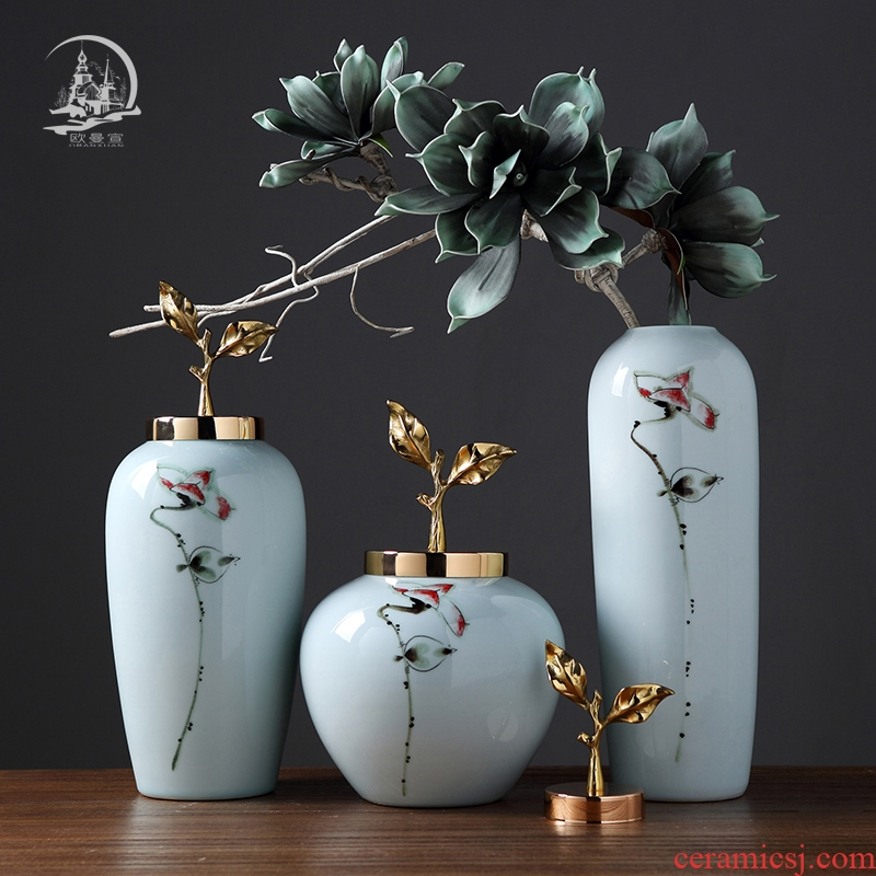 Jingdezhen ceramic vase with cover furnishing articles sitting room of I and contracted creative home flower arranging, soft outfit wine accessories