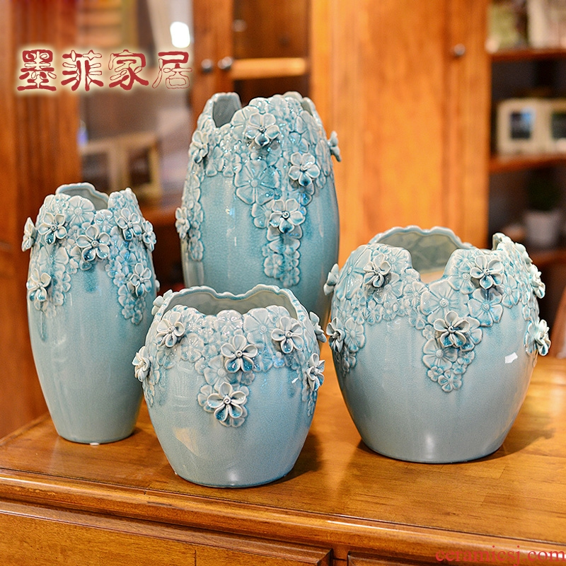 Hand hold ice crack ceramic vase Nordic creative furnishing articles contracted sitting room TV ark, large dry flower decoration flower arranging