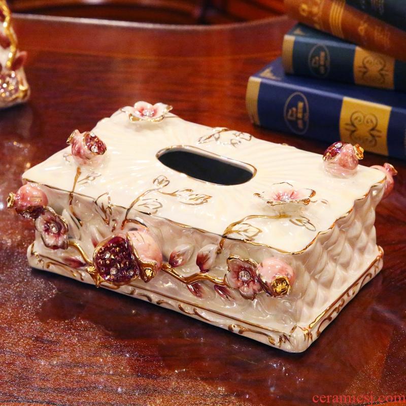 Flower fox European ceramic household adornment tissue boxes sitting room adornment smoke box furnishing articles move smoke box