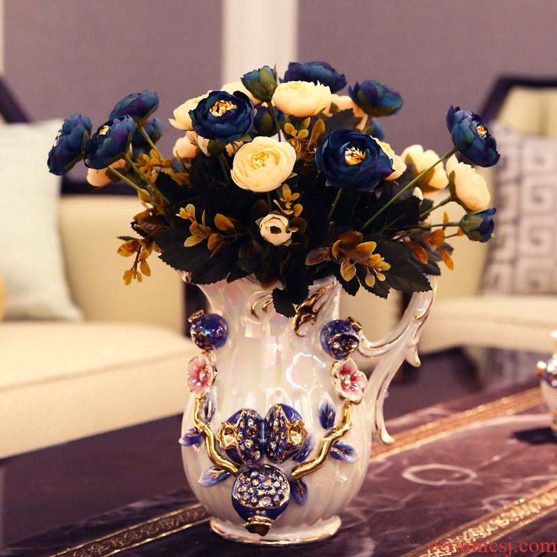 European ceramic milk pot vase decoration furnishing articles simulation table rose floral suit flower arranging, dry the vase